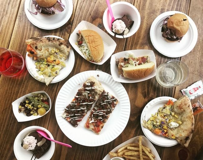 🍕 + 🍔 > Feast Portland Burger Pizza Plate Food Table Food And Drink Directly Above High Angle View Food Stories