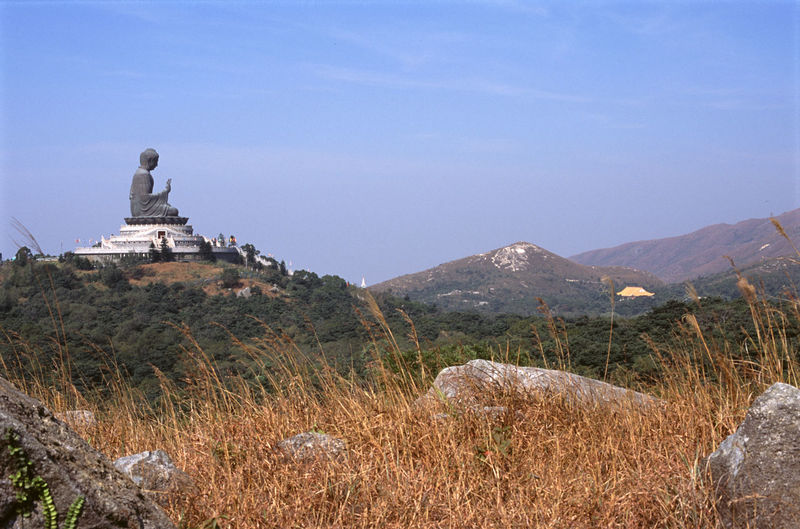Buddha statue on hill at po lin monastery