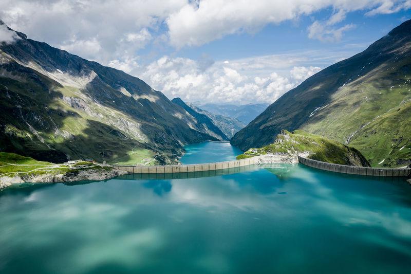 Aerial image of kaprun high mountain reservoirs and dam wall, salzburg, austria