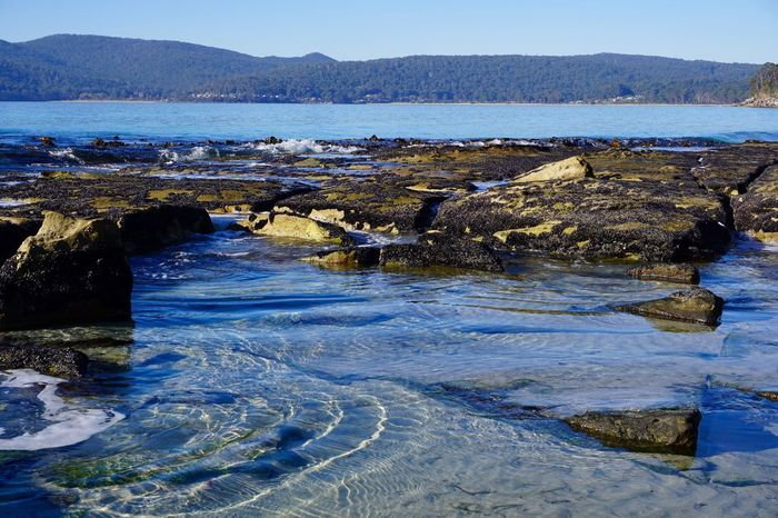 Adventure Bay, Burny Island, Tasmania Water Nature Outdoors No People Beauty In Nature Tranquility Day Rock - Object Scenics Tranquil Scene Mountain Sea Sky Burny Island Tasmania, Australia