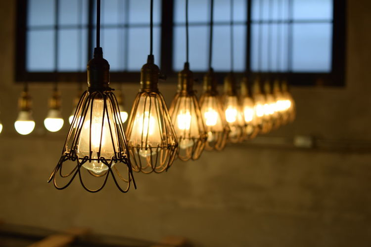 Close-Up Of Hanging Light Bulbs
