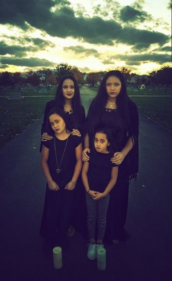 Happy Halloween! Emotion Portrait Child Girls Togetherness Outdoors Cemetery Gothic Photography