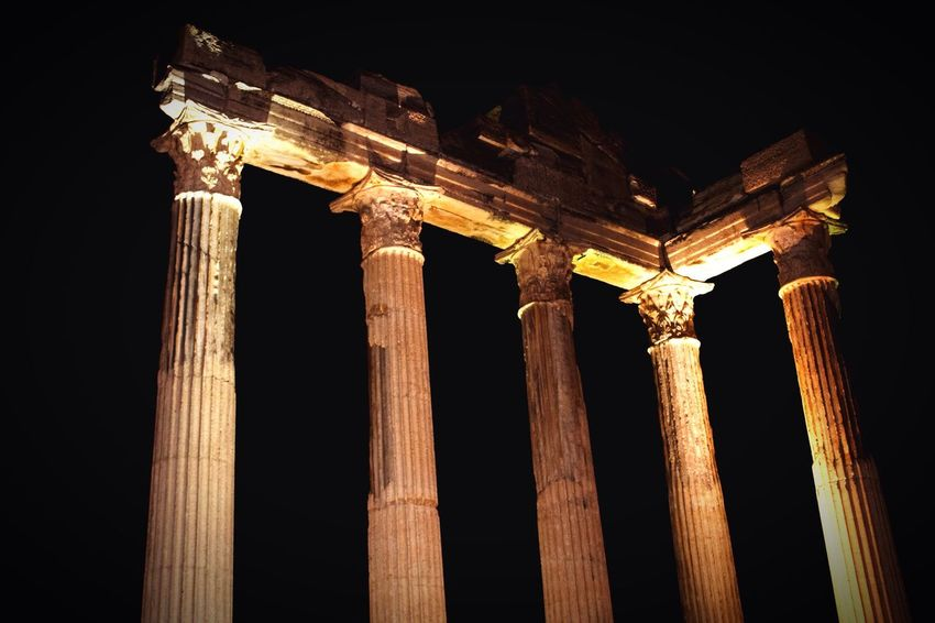 Holiday Tourism Travel Turkey Night Antalya Architecture Side, Turkey Built Structure Architectural Column History Building Exterior Illuminated Historic Archeology Apollon Tapınağı Apollon Temple Colonnade Side Antik Ancient Travel Destinations Ancient Greek Famous Place
