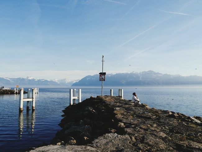 Water People Montains    Only Girl Lac Léman Beauty In Nature Beautiful View