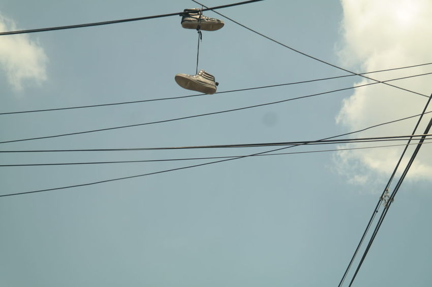 Summer Diaries Bridges Cable Cables Cars Close-up Cloud - Sky Clouds And Sky Containers Electricity  Outdoors Outdoors Photograpghy  Power Cable Power Lines Powersun Road Roadsign Roadtrip Roadtrippin' Sheshan Shoe Sky Tows Wire Low Angle View Nature Electricity  Connection Hanging Technology Power Line
