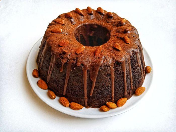 High angle view of chocolate cake