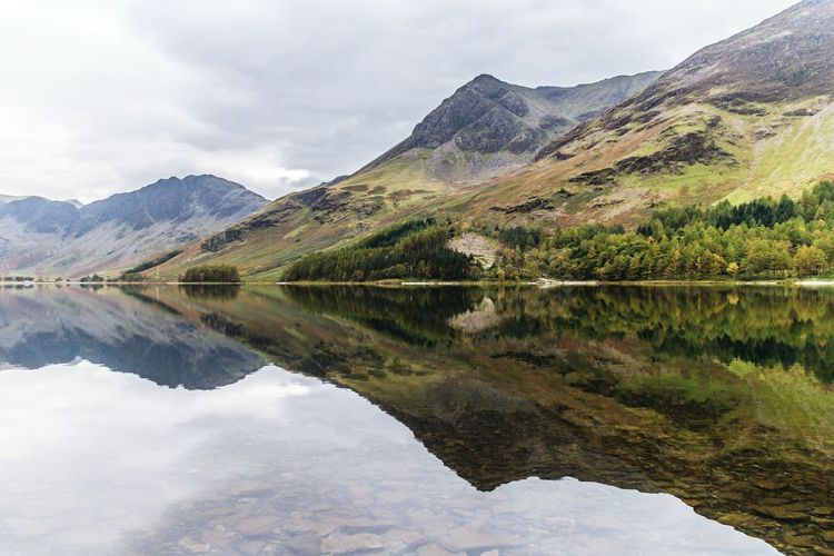 Lake District Mountain Landscape Lake Reflection Lake Reflection Buttermere