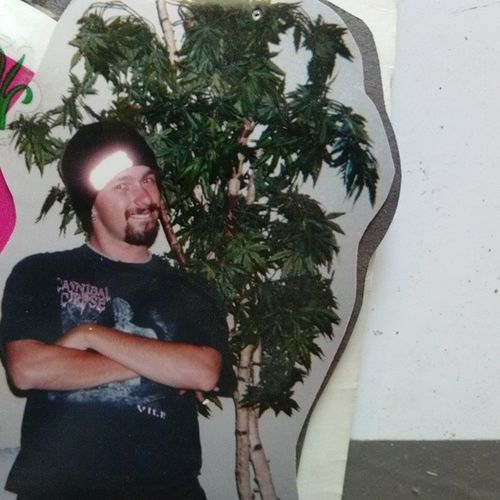 "Throw back Thursday old pic of me next to my ex wife's"" fake pot"" tree. Our old home decor Lol Throwback TBT  Oldpic Stillcool Lolme"