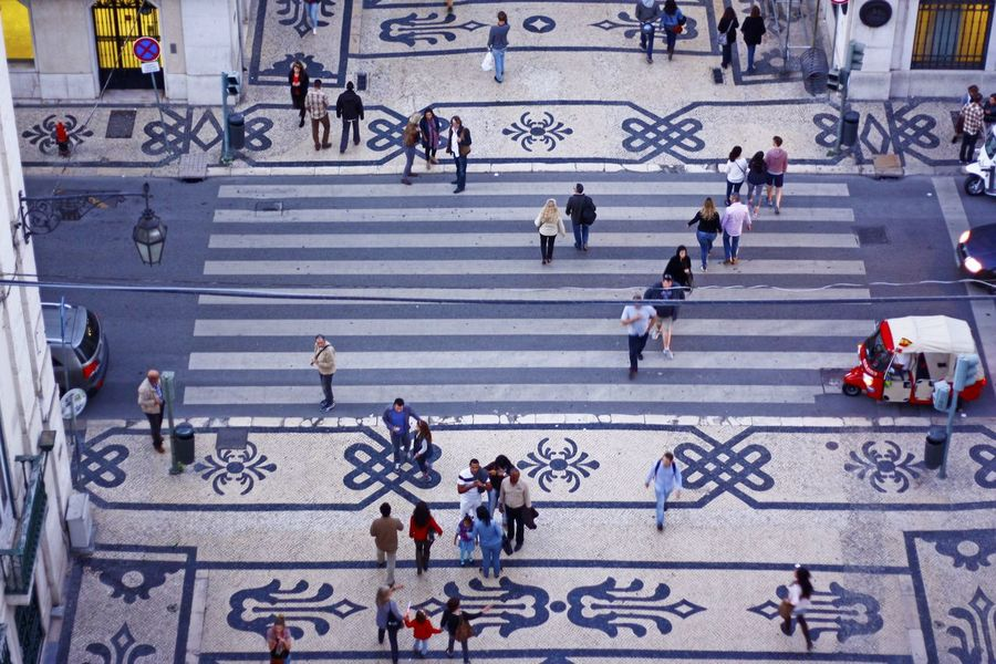 View on a crossroads from the arch Portugal TukTuk View From The Top Cobblestone Crossroads Crowd Day Lisbon Outdoors People Tuk-tuk View From Above