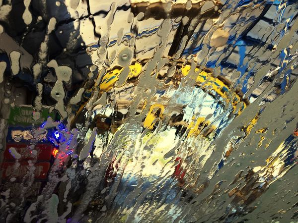 Enjoy The New Normal Multi Colored Backgrounds Close-up Water Wet Variation Fun Car Window Views Car Wash Abstract