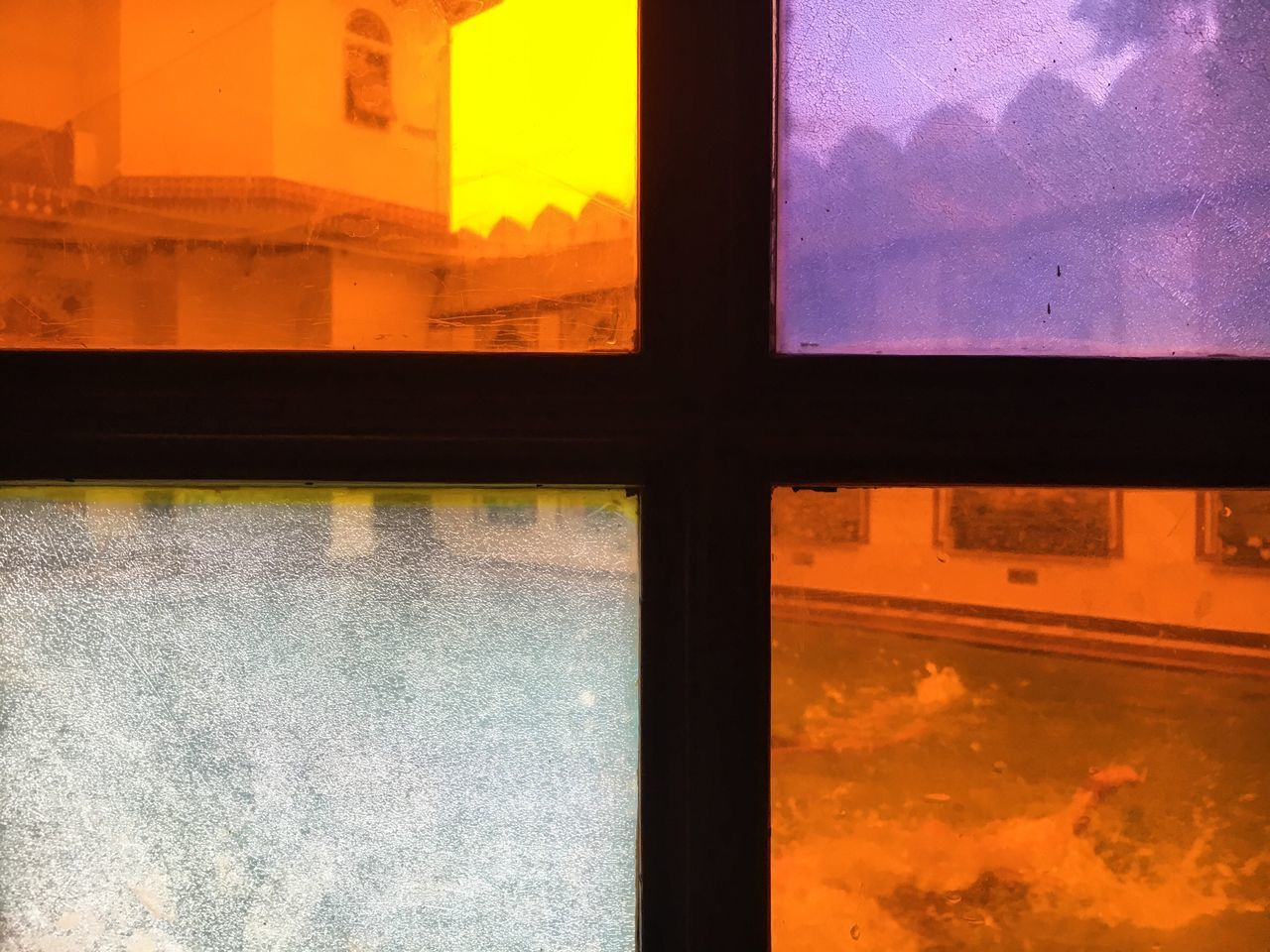 window, glass - material, indoors, transparent, no people, architecture, built structure, water, nature, sunset, sky, orange color, reflection, building, cloud - sky, close-up, day, glass, window frame