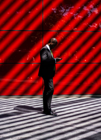 Minimal Red Full Length Shadow Architecture London Streetphotography Documentary Street Red Lines Block Minimalism People Minimal Sony EyeEm Best Shots