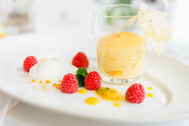 Copy Space Raspberries Appetizing  Close-up Colorful Dessert Drinking Glass Focus On Foreground Food Food And Drink Freshness Fruit Healthy Eating Ice Cream Icecream Indoors  Indulgence Nachspeise Plate Ready-to-eat Refreshment Sweet Food Table Temptation White Plate