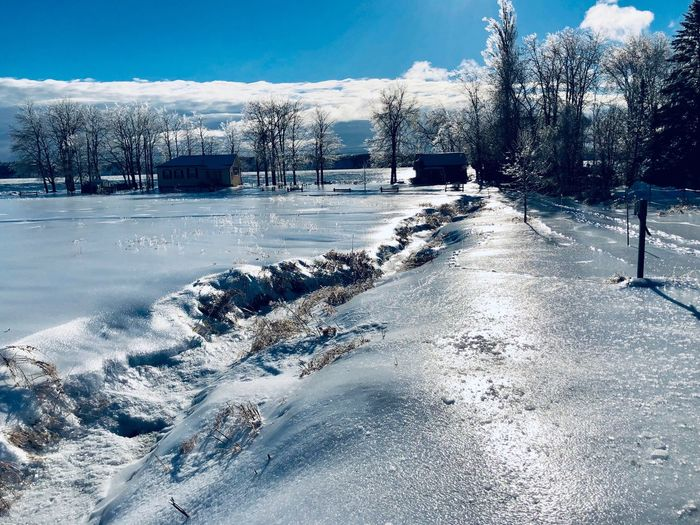Ice Covering Snow Ice Cold Temperature Snow Winter Sky Nature Day Tree Water Outdoors Plant No People Cloud - Sky Frozen Transportation Sunlight Beauty In Nature Motion Land