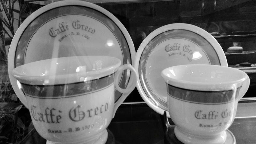 Caffè Greco Rome Rome Italy Rome Via Condotti Via Condotti Rome Hello World Beutiful  Blackandwhite Black And White Cups Cups With Charm Esclusive Museum Chic In Rome