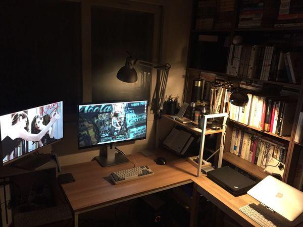 workspace Workspace Desk Dell U2715h Ultrasharp LG  Macmini MacBook ThinkPad
