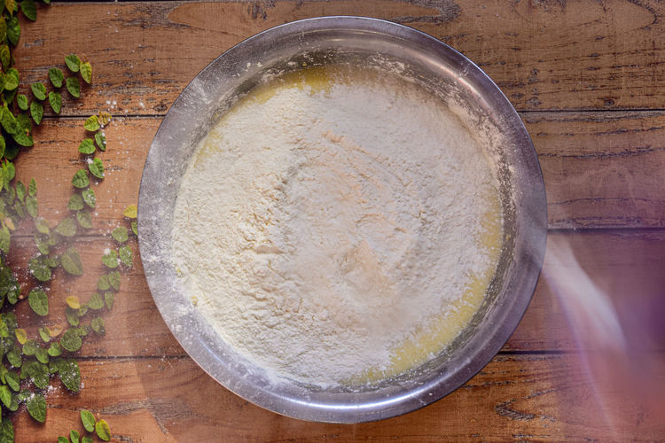 High angle view of bread in bowl on table