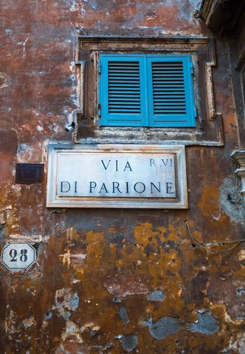 No People Window Building Exterior Weathered Wall Peeling Peeling Paint Peeling Plaster Peeling Layers Of Time Peeling Walls Address Street Photography Street Name Sign Street Name Sign Street Number Number Rome Roma Italia Italy 🇮🇹 EyeEmNewHere