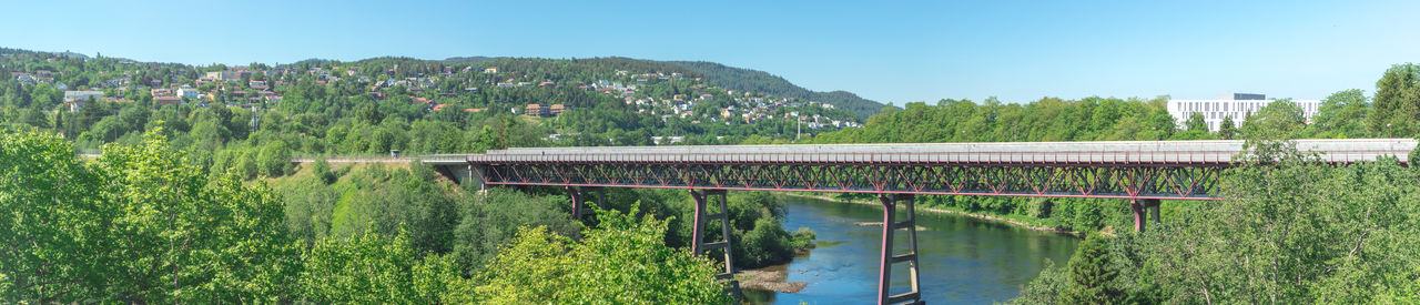 City Norway Architecture Bridge Building Building Exterior Built Structure City Day Environment Green Color Nature Nidelva Outdoors Pedestrian Bridge People Plant Scenics - Nature Sky Train Bridge Travel Destinations Tree Water