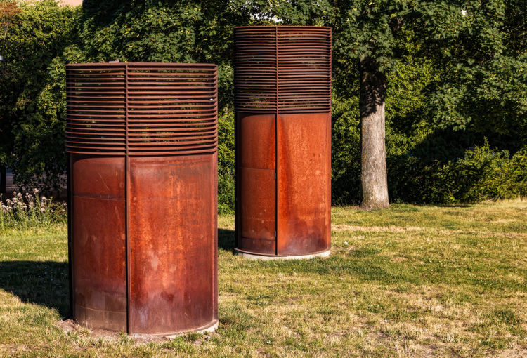 air intake for ventilation Rust Air Intake Day Geometric Grass No People Outdoors Red Shaft Summer Tree Ventilation