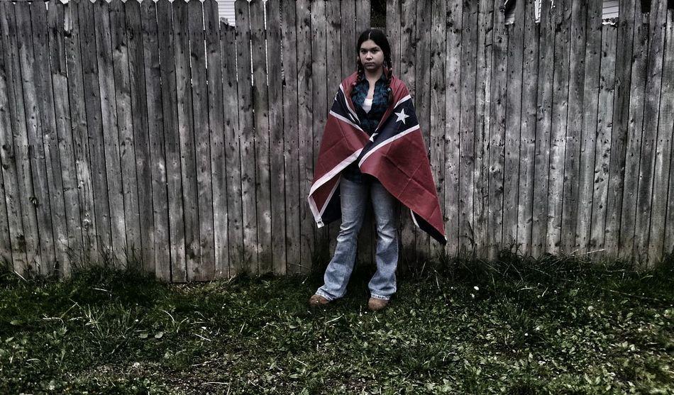 Rebel Rebel Flag Native American Indian Old Wooden Fence Fence Pig Tails