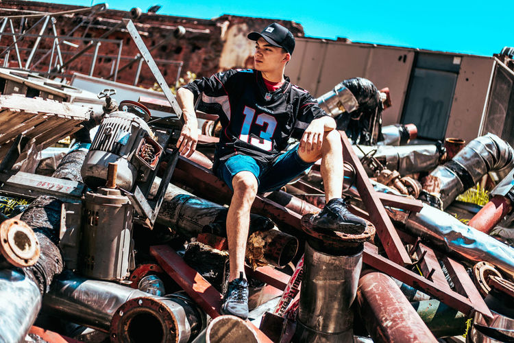 Real People Fashion Casual Clothing Sitting Old School Steel Abandoned Rusty Rusty Metal Rapper Urban Clothing Skater Urban Photography Trash Old Stuff Metal Things Canonphotography Hip Hop Underground Rapping Streetphotography Street Art Freestyle Graffiti Art