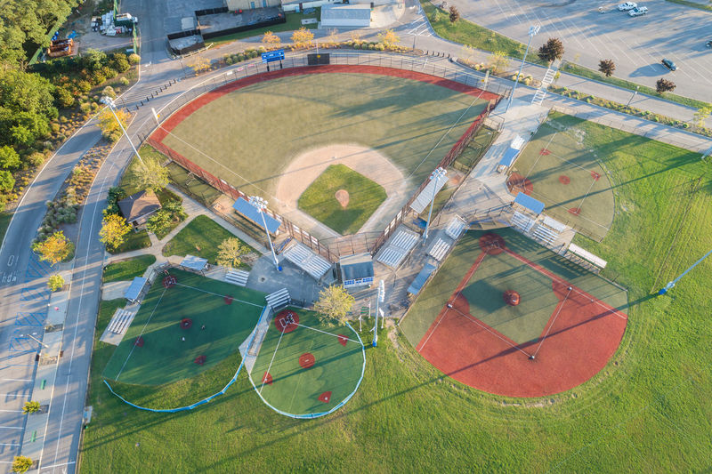 Baseball Field Aerial View Day Field Grass Growth High Angle View Landscape Nature No People Outdoors Softball Sports