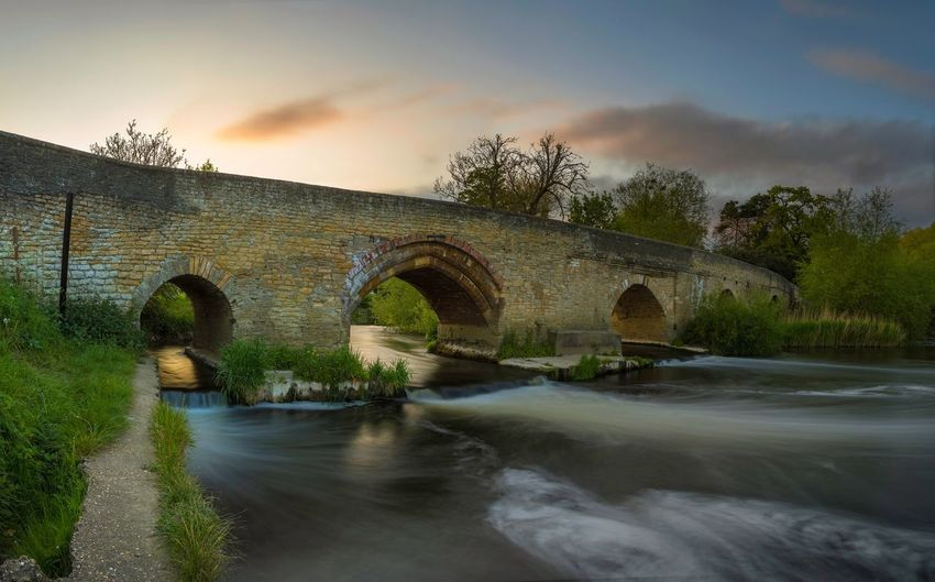Harrold Bridge Hosegood Andrew Ouse River Upper Sunset Colour Summer Bedfordshire Bridge Harrold Arch Built Structure Water Cloud - Sky Sky Bridge - Man Made Structure