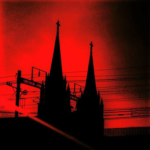 Red Architecture Building Exterior Night Church Gothic Goth Devil