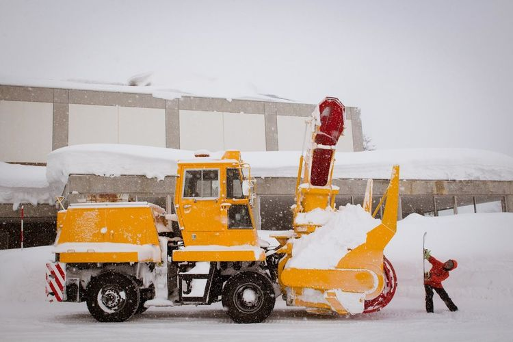 Japan Series Hokkaido Big snow in Hokkaido so you need big equipment to move it from the streets. Kimmy Fasani says 'watch out' to the snow machine as she makes her way to the slopes for a day of Snowboarding