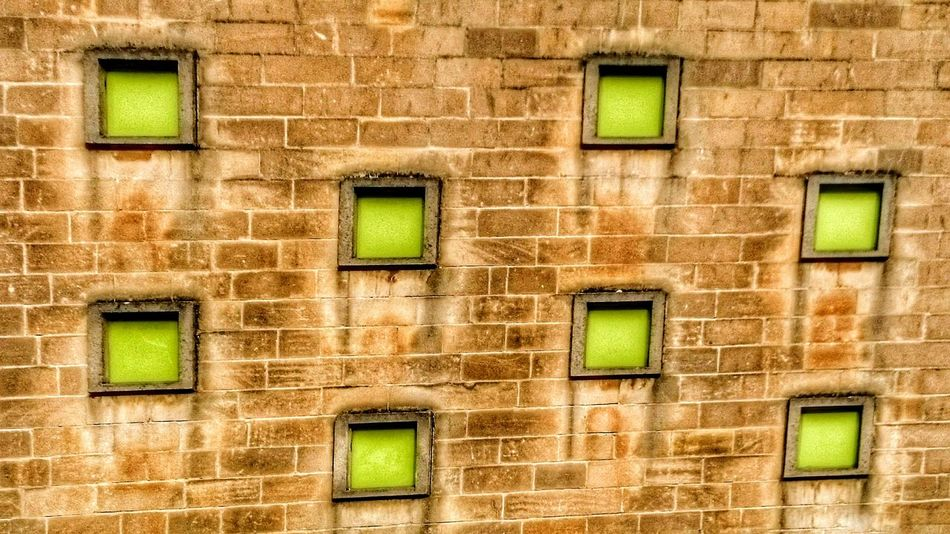 Wall - Building Feature Multi Colored Green Color Brick Wall Windows Architecture Built Structure No People Residential Building Outdoors Backgrounds Bricks Hdr Edit Minimalist Architecture The Architect - 2017 EyeEm Awards