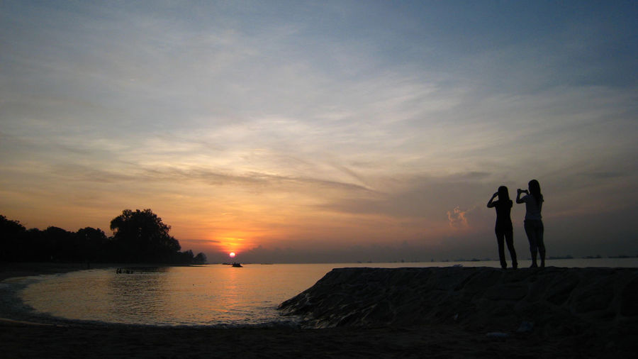It's A New Day And I'm Feeling Good :) Singapore East Park Sunrise Sunset Beach Silhouette Sea Cloud - Sky Water Sky