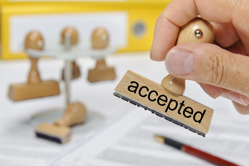accepted printed on rubber stamp in hand Accepted Business Accept Acceptance Agree Agreement AllOwed Allowance Approval Approve Approved Compliance Concept Conceptual Confirm Confirmation Contract Holding Human Hand License Offer Permission Permit Permited Text