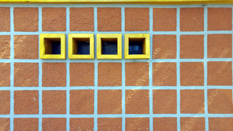 Architecture Brick Wall Building Exterior Built Structure Day Fine Art Photography Four Four Windows Multi Colored Outdoors Pattern Square Pattern Square Shape Square Windows Squared Shaped Squares Still Life Street Photography Urban Urban Photography Windows
