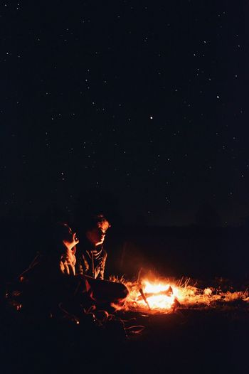The Great Outdoors - 2017 EyeEm Awards Night Flame Outdoors Sky Stars Bonfire Couplegoals Romantic Sky Romantic Night Love Live For The Story Sommergefühle Mix Yourself A Good Time