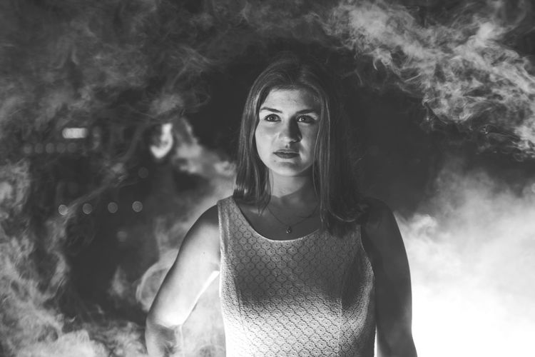 Fog Dress Contrast Beauty Smoke Front View One Person Young Adult Looking At Camera Long Hair Young Women Leisure Activity Portrait Outdoors Day People