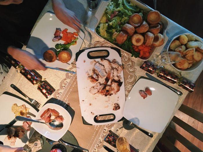 Food High Angle View Food And Drink Table No People Christmas Christmas Dinner