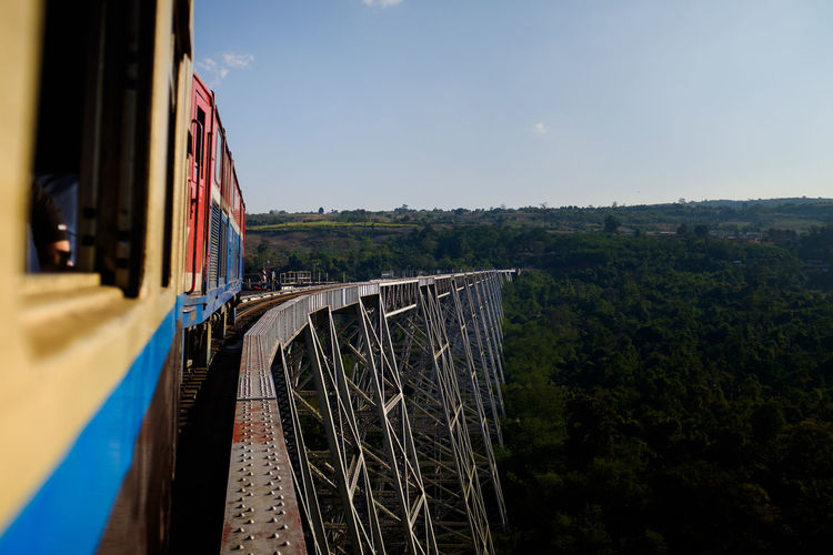 Adventure Architecture Bridge Bridge - Man Made Structure Day Friends Myanmar No People Outdoors Railing Sky Train Travel Trestle Vacation