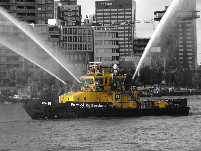 Port Autority In Rotterdam Waterfront Water Yellow Transportation Fireboat World Port Days Port Of Rotterdam Boat Vessel Water Rotterdam The Netherlands