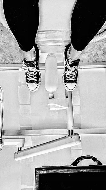 Low Section Human Leg Indoors  Mirror Shoe High Angle View Real People Sitting Shoes Sitting And Standing Bored Favorite Shoes AllStarshoes Upside Down Photography Black And White Opposite View Down And Up Up And Down Dentist Chair Dentist Visit Out Of The Box