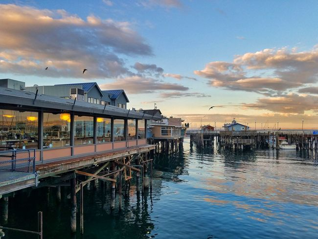 Fishermanswharf Pacific Ocean Water Reflection Outdoors Sea Cloud - Sky Travel Destinations Nautical Vessel No People Nature Architecture Sunset Day Sky