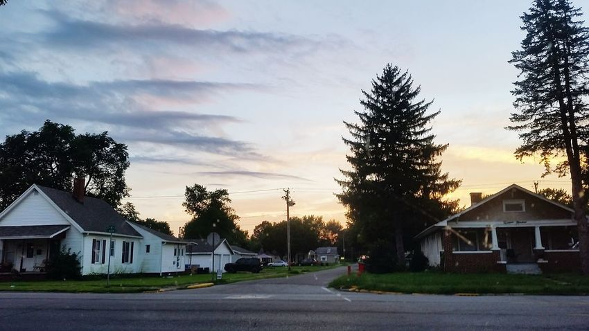 Tree Sunset City Front Or Back Yard House Road Business Finance And Industry Residential Building Sky Architecture Cottage