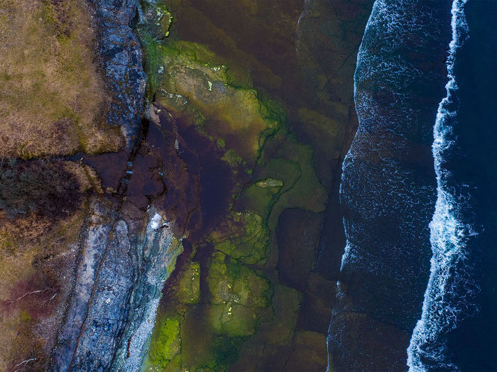 Waterfall into the sea. A Bird's Eye View Aerial View Beauty In Nature Drone Photography Green Color Landscape Majestic Multi Colored Nature Non-urban Scene Scenics Shore Sweden Sweden Nature Tranquility Water Waterfall Waves Öland