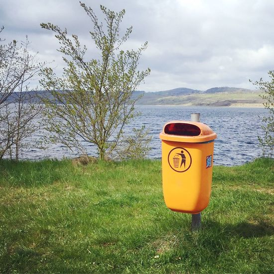 Clean Trash Trashcan Orange Orange Color Environment Environment Protection Lake
