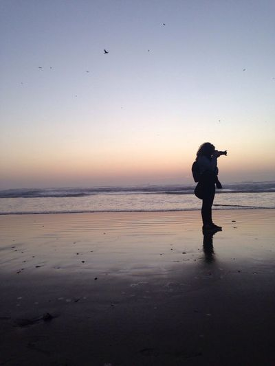 Full length of female photographer photographing at beach against clear sky during sunset