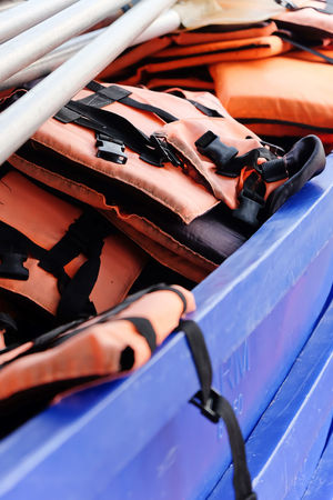 Life vest on boat Life Vest Boat Close-up Day No People Outdoors Safe Safety Safety Equipment Sea