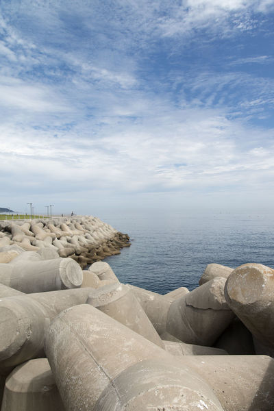 seaside with blue sky and white cloud at Haepalang Park in Yeongdeok, Geongbuk, South Korea White Clouds Beach Beauty In Nature Blue Skky Cloud - Sky Day Horizon Over Water Nature No People Outdoors Rock - Object Scenics Sea Seaside Sky Tranquil Scene Tranquility Water