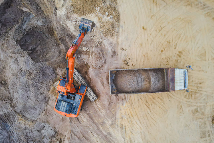 High angle view of equipment on rock at construction site