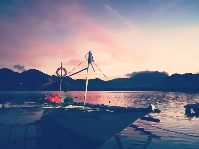 Sunrise Shore Sea Scenics Nature Huawei P20 Smartphonephotography Water Mountain Nautical Vessel Flamingo Sky Mountain Range Calm Boat