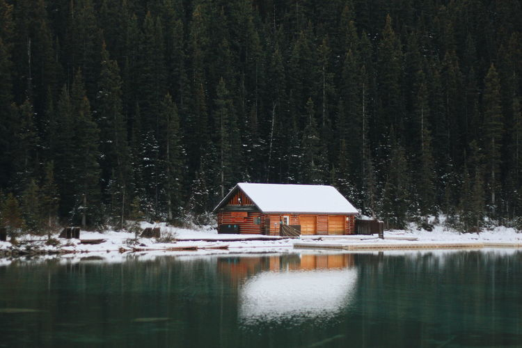 House by lake in forest